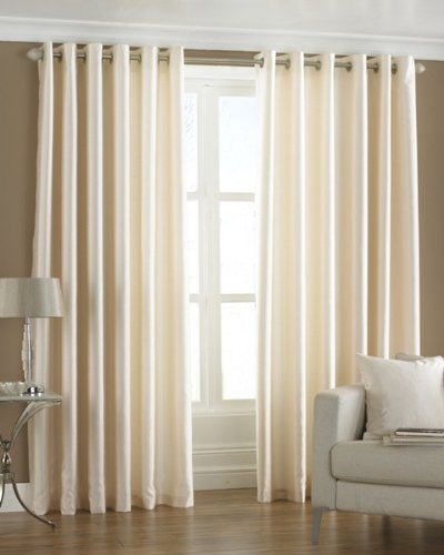 Homefab India's Set of 2 Royal Silky Cream Window Curtains(HF042) 6X4ft.