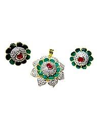 Poddar Jewels Cubic Zirconia Green Meena Pendant Set