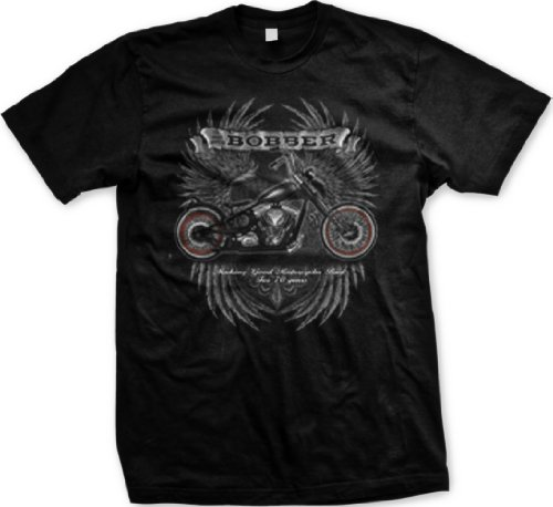 Bobber Motorcycle Mens T-shirt, Making Good Motorcycles Bad For 70 Years Mens Tee Shirt, Large, Black