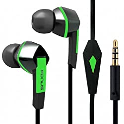 Premium Sound Earphones Hands-Free Tangle Free Flat Wired Green/Black Headset Dual Earbuds with Microphone for iPhone 6 / 6 Plus 5S 5C 5 4S Samsung Galaxy S5 S4 S3 S2 Mini Active Sport - Galaxy Note 4 3 2 1 Edge - Galaxy Avant - LG G2 G3 Vigor - LG Google Nexus 6 5 4 - HTC ONE M8 / E8