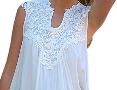 Ninimour- Women's Lace Stitching Chiffon Shirt Hollow Out Blouse