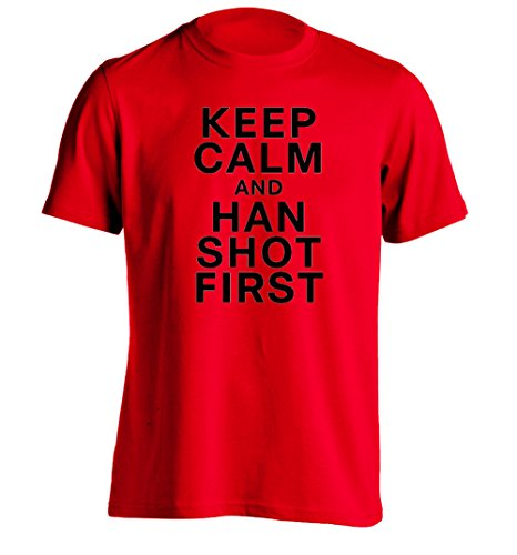 KEEP CALM AND HAN SHOT FIRST - Mens Design T Shirt Personalized Tee