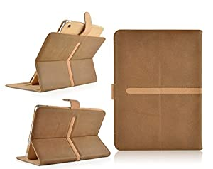 Brown Tan PU Suede Leather Wallet Flip Case Cover for The ipad 2 3 and 4 Full Sleep Wake Function ! Plus Screen Protector and stylus pen