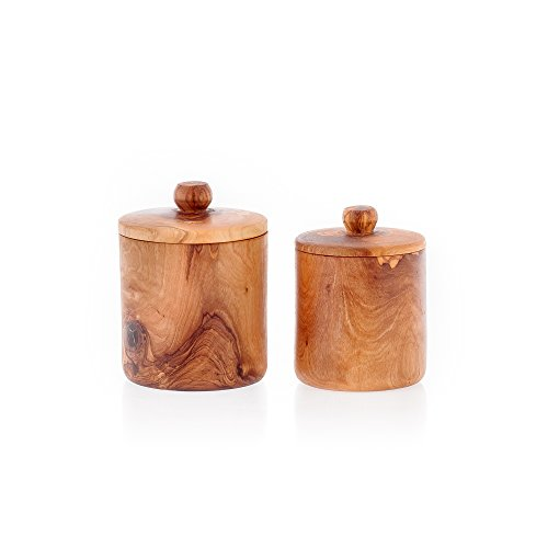 Olive Wood Jars Or Containers Handmade (2) For Sugar, Coffee, Tea, Spices Or Other Small Bits And Pieces