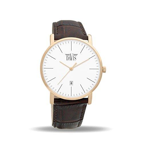 Davis 1992 - Montre Design Classique Homme Femme Acier Or Rose Extra Plate Cadran Blanc Date Bracelet Cuir Marron