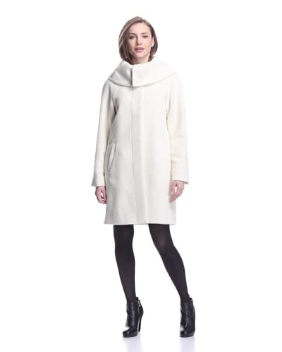 Sofia Cashmere Women's Funnel Neck Alpaca Coat  [White]