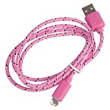 1 metre Baby Pink 8 Pin Charger Cable and Sync Lead,Unbreakable Braided Cable compatible with iPhone 5,5c,5s,iPad Mini, 4G,iPod Touch 5G,Nano 7G