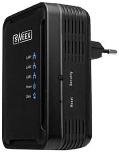 SWEEX 200Mbps Powerline Netzwerkadapter mit 3 PORT SWITCH Unterstuetzt 3 Geraete Gleichzeitig
