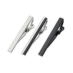 MeShow 3Pack 2.1 Inch Long Mens Tie Clip Clasp Bar Set For Regular Ties Spring Loaded End (3Pack B+BS+S)