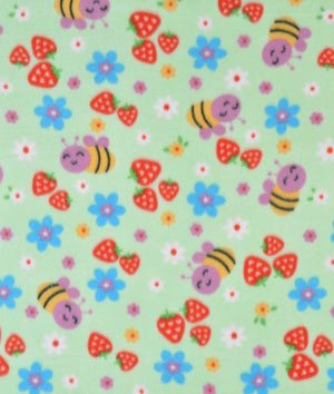 Lime Strawberry Patch Fleece Fabric - By The Yard