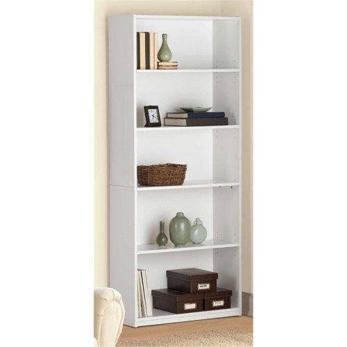 Ameriwood 5 Shelf Adjustable Wood Bookcase - White Stipple | 9484015YL White 5 Shelf Bookcase
