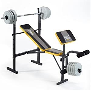 Everlast Ev115 Starter Bench And Weights Grey Yellow
