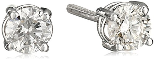 14k Diamond With Screw Back And Post Stud Earrings