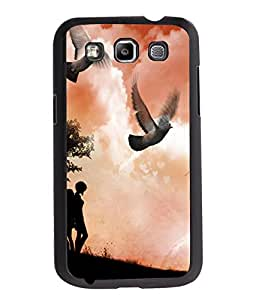 Fuson Love Couple with Birds Back Case Cover for SAMSUNG GALAXY QUATTRO - D4019