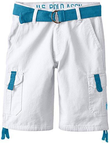 U.S. Polo Assn. Big Boys' Belted Twill Cargo Short, White, 16
