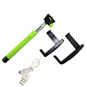 Green Adjustable Handheld Wireless Bluetooth Mobile Phone Monopod with Clamp for Ios 4.0 Smartphone or up Generation