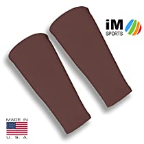 iM Sports SKINGUARDS Skin Protection Forearm Sleeves + Protects Aging or Thin Skin + UV Protection - Unisex + Made in USA - Brown - X-Small / Small - Pair
