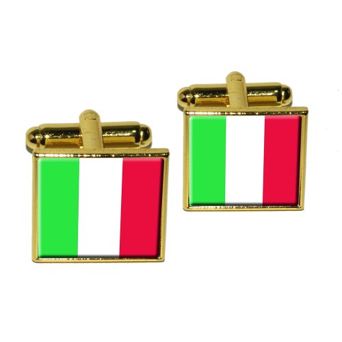 Italy Italian Flag Square Cufflink Set - Gold (Italian Flag Cufflinks compare prices)