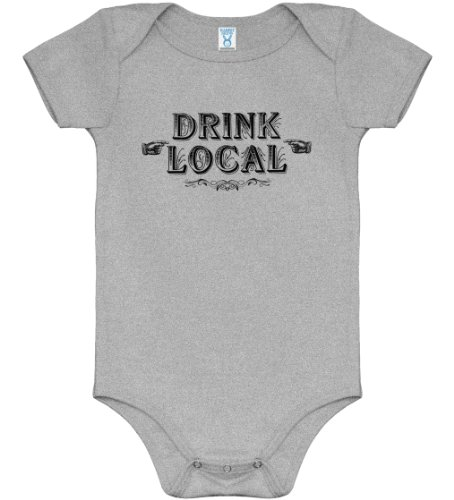 Drink Local Baby Creeper By Smash Vintage - Heather Gray, 6M front-713418