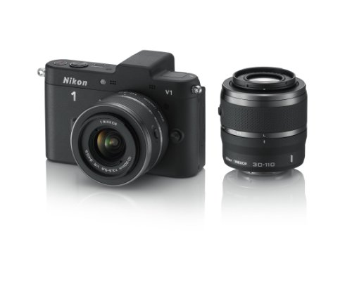 Nikon 1 V1 Compact System Camera with 10-30mm and 30-110mm Double Lens Kit - Black (10.1MP) 3 inch LCD