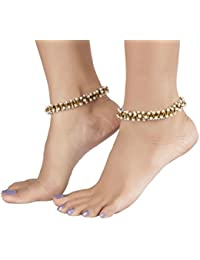 The Jewelbox Antique Pearl 3d Gold Plated Stretchable Light Wt Pair Of Anklet