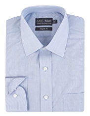 Cotton Rich Easy to Iron Hairline Striped Shirt