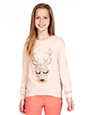 Sequin Embellished Reindeer Jumper with Modal