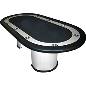 Trademark Poker Table with  White Veneer, Black Felt And Racetrack Poker Table, Black