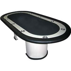 Trademark Poker Table with  White Veneer, Black Felt And Racetrack Poker Table, Black