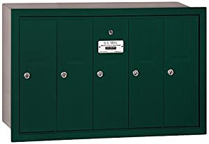 Salsbury Industries 3505GRP Recessed Mounted Vertical Mailbox with Master Commercial Lock, Private Access and 5 Doors, Green