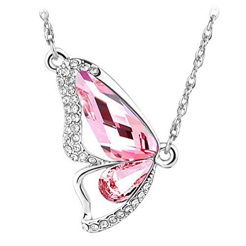Le Premium® - Collana con pendente con cristallo Swarovski a forma di farfalla, colore: Rosa