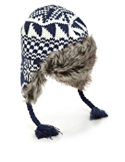 Faux Fur Fair Isle Knitted Trapper Hat