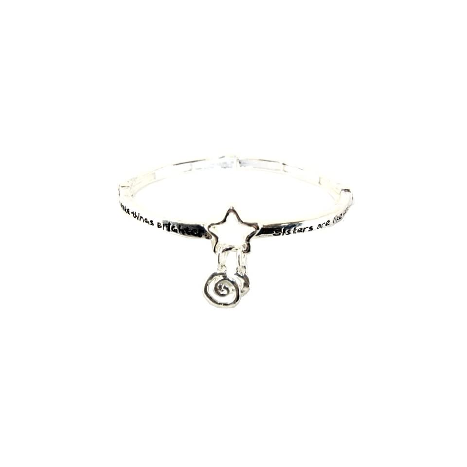 Sisters Are Like Bright Stars Silver Plated Infinity Circle Stretch Bangle Bracelet Charm Bracelets Jewelry