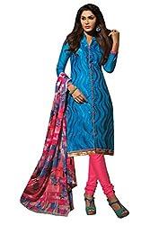 Fashion Storey Fancy Blue Chanderi Dress Material