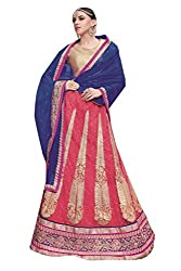 Ishin Net Chiffon Party Wear Embellished Red & Blue Lehenga