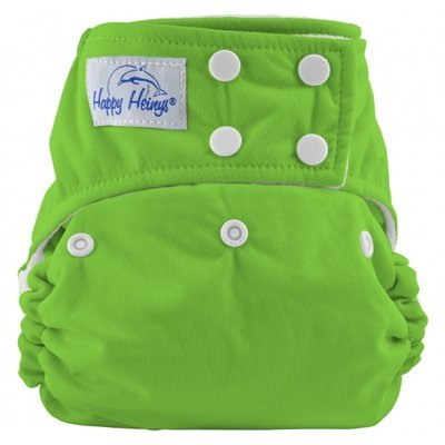 Happy Heiny'S True Size One Size Snap Closure Cloth Diaper + 2 Microfiber Inserts (Spring Green) front-767856