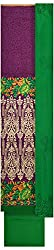 Threads Women's Chanderi Dress Material (Th7006_Purple And Green)