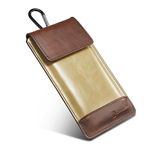 global i mallマホケース スマホ(スマートフォン) ポーチ フック 付き 防水 PUレザー ウエストポーチ ベルト掛けバッグ メンズ トラベルバッグ デジカメ収納   縦型 財布 ウォレット 登山 旅行 アウトドア便利 iPhone6/iPhone 6s/iPhone 6 Plus/iPhone 6s Plus等対応可能 5.0-5.8インチ ブラウン/カーキー