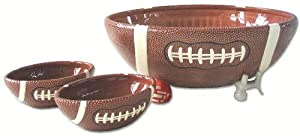 Home ETC Sports Fans Football Serving Bowl and Mini Bowl Set, 3-Piece Set
