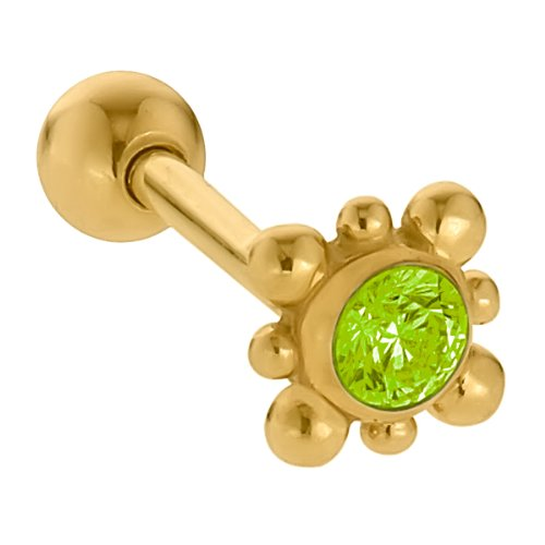 2mm Peridot Fancy 14K Yellow Gold Cartilage Stud Earring