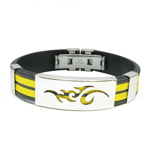Tungsten Love 316L Stainless Steel & Rubber Mens Bracelet Multi Colors Selectable (Yellow)