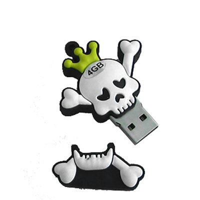 USB SKULL WITH YELLOW CROWN 4GB - Memory stick/drive for XP/Vista/Windows 7/Mac from EASYWORLD