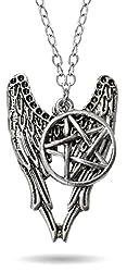Via Mazzini Supernatural Pentagram Metal Antique Silver Pendant Necklace For Men And Women