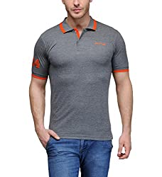 AWG Men's Premium Cotton Polo T-shirt with Embroidery - Charcoal Grey - FBAAWGTS5xxl