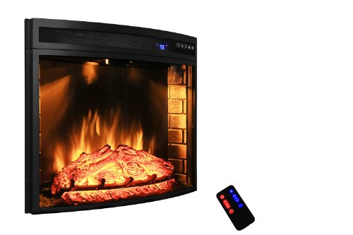 "Review AKDY 28"" Black Electric Firebox Fireplace Heater Insert Curve Glass Panel W/Remote Azfl-..."