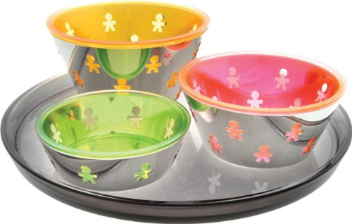 A Di Alessi Mini Girotondo in 18/10 Stainless Steel Mirror Polished and Thermoplastic Resin Aperitif Set