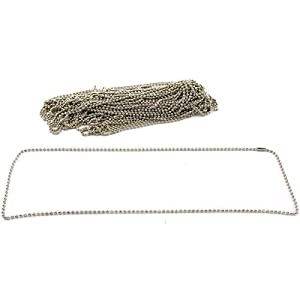 """Bead Chains Nickel Plated 24"""" 24Pcs"""