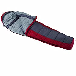 Wenzel Windy Pass 0-Degree Mummy Sleeping Bag, Red/Grey, 33 x 84-Inch