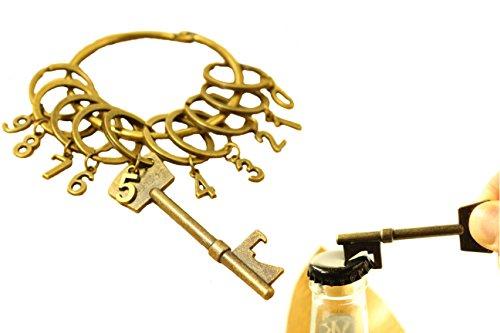 ウキウキわくわく商店 レトロ キーリング キーホルダー 10 ループ ナンバー / おもしろ 栓抜き アンティーク風 鍵型 Bottle OPENER セット