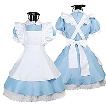 E Support Blue Women's Alice Madness Wonderland French Apron Maid Cosplay Costume